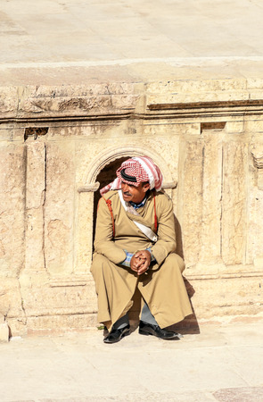 JERASH, JORDAN-FEBRUARY 2015. Roman archeological ruins in Jerash in Jordan on a sunny day.