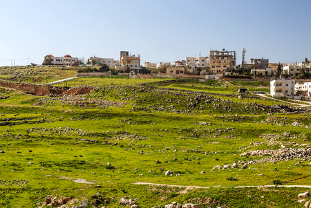 Roman archeological remains in Jerash in Jordan on a sunny day.