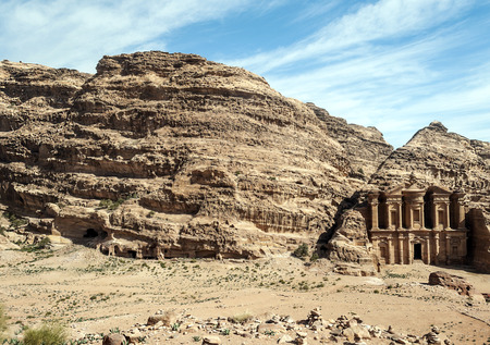 Ruins of the ancient city of Petra in Jordan. Petra is an important archaeological site in Jordan, and the capital of the ancient Nabatean kingdom, whose inhabitants called it Raqmu. Petra is not a city built with stone but, literally, excavated and sculpted in stone.