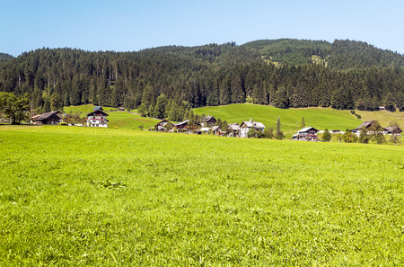 Village of Gosau with its wooden houses in the Alps of Austria on a sunny day.