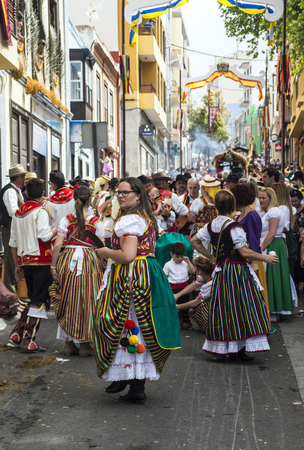 La Orotava, Tenerife, Spain-June 2016. The Pilgrimage of San Isidro Labrador, in La Orotava. The festival is declared of National Tourist Interest and is celebrated after Corpus Christi. The pilgrimage, originated in the seventeenth century, runs through