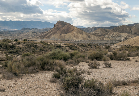 Desert of Tabernas in Almeria in southern Spain on a cloudy day.