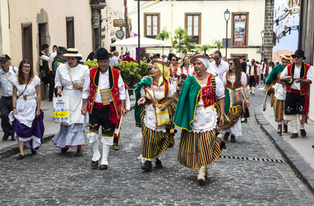 La Orotava, Tenerife, Spain-June 2016. The Pilgrimage of San Isidro Labrador, in La Orotava. The festival is declared of National Tourist Interest and is celebrated after Corpus Christi. The pilgrimage, originated in the seventeenth century, runs through