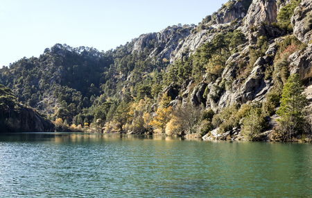 Beginning of the Guadalquivir river in the Sierra de Cazorla in the Spanish province of Jaen on a sunny day.