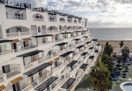 Hotels on a sunny day. Roquetas de Mar is a Spanish municipality in the province of Almería and the autonomous community of Andalucía, capital of the homonymous judicial district, located in the Poniente Almeriense region and 21 kilometers from the prov