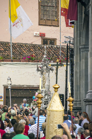 LA OROTAVA CANARY ISLAND SPAIN - JUNE 2018. The people of the town working on the day of Corpus Christi in the flower carpets. Editorial