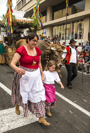 La Orotava, Tenerife, Spain-June 2018. The Pilgrimage of San Isidro Labrador, in La Orotava. The festival is declared of National Tourist Interest and is celebrated after Corpus Christi. The pilgrimage, originated in the seventeenth century, runs through