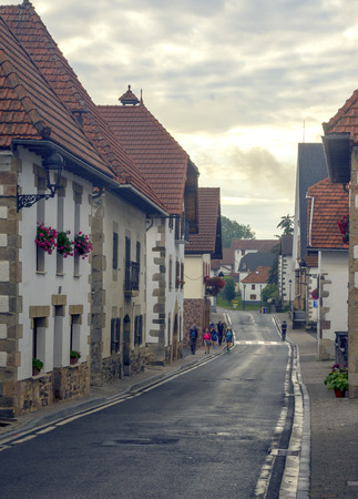 Roncesvalles, Navarra, Spain-September 2018. The houses and religious institutions and attention to the pilgrims Jacobean are in the town of Roncesvalles, located at the foot of Ibañeta, where the famous llanada starts in which the songs of deeds locate
