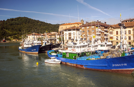 Orio, Basque Country, Spain-September 2018. Orio is a Spanish municipality in the province of Guipúzcoa, in the autonomous community of the Basque Country. It is a coastal town with a fishing tradition. You can see the buildings by the sea. Editorial