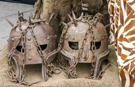 Head of armor in a medieval market on the street Banco de Imagens