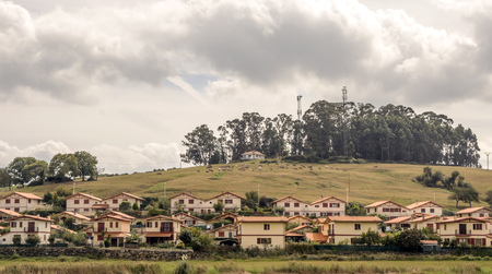 Rural town in Cantabria in the north of spain in a sunny day. Stock Photo