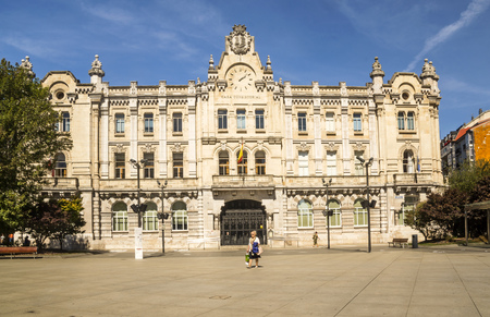 Santander, Spain-Septemebr 2019. City of Cantabria in the north of Spain with people and tourist walking in them and the classic building.
