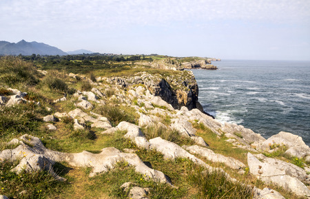 Ocean atlantic coastline in Spain in a sunny day