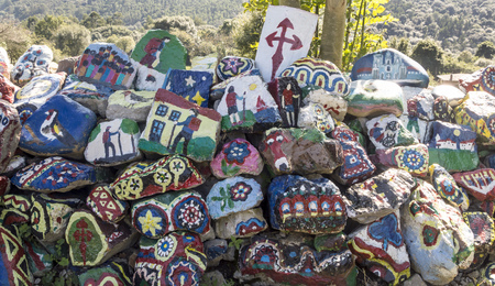 Decorated stones in the camino of Santiago in the north of Spain.