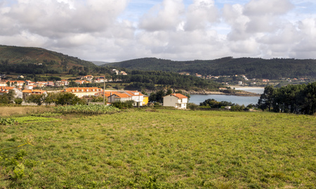 Town near the sea called Finisterre in the north of Spain Stock Photo
