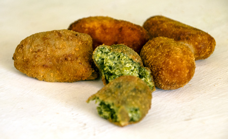Spanish croquettes on white background