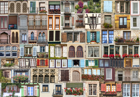 Composition of several windows of the world