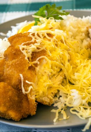Breaded chicken fillets with white rice served on a plate
