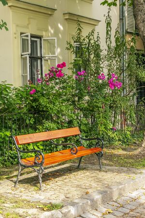 Public park with flowers in Budapest in a cloudy day. Stock Photo