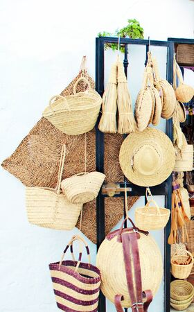 Objects made of wicker handicrafts displayed in a shop Stock Photo