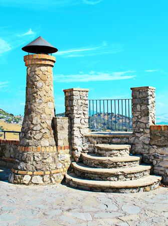 Viewpoint located in the Spanish town of Ronda in Malaga province in a sunny day.