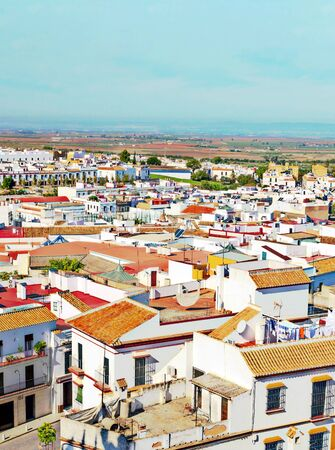 View of the monumental city of Carmona in Andalusia in the south of Spain in a sunny day