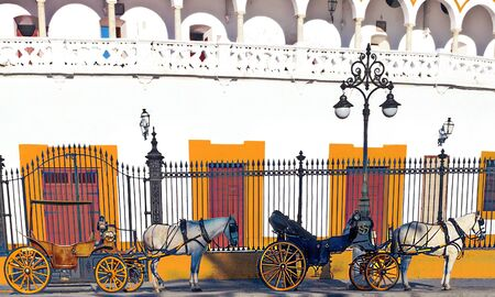 Bullring of Sevilla with several carriages with horses in the south of Spain