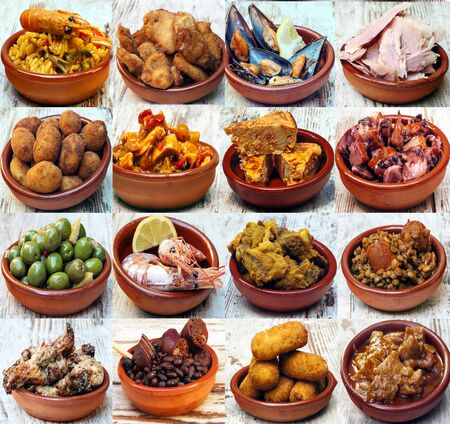 Collage of typical dish of spanish food