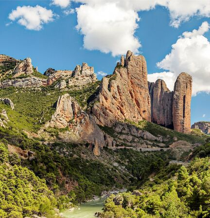 River in Riglos in the Pyrenees mountains
