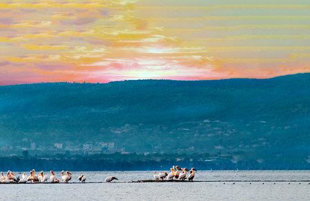 Kenyan lake at sunset in African landscape Stock Photo