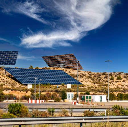 Solar panels in the fields of Soria in Spain