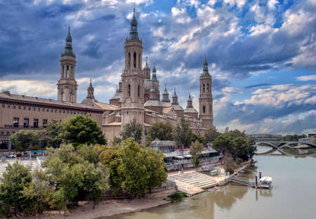 Zaragoza in the north of Spain near the river in a cloudy day