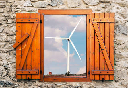 Wind turbine in the fields of Soria in Spain. It´s a point of view from window