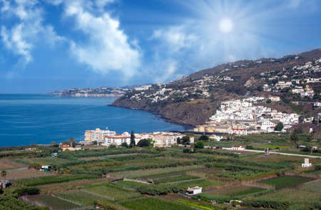 Coast in the south of Andalusia with fields in a spring day