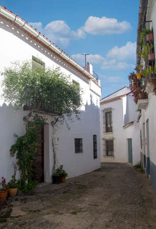 Street of Cortelazor in the Huelva province in the south of Spain. Its a white houses village in a sunny day.