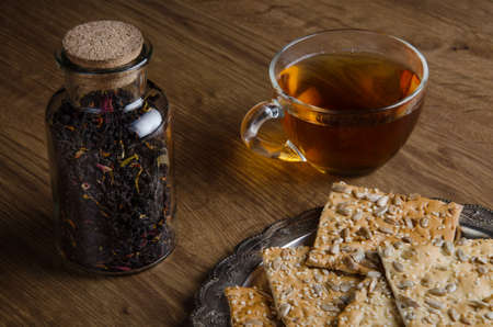 cup of tea: Glass cup tea with cookies