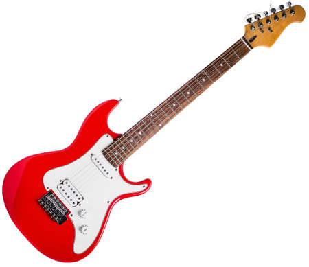 Red electric guitar on a white background.
