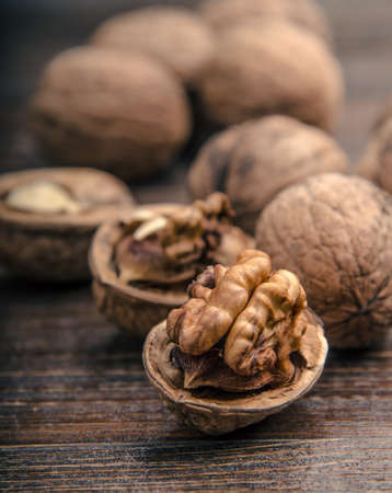 Walnuts. Walnuts an market. Background of walnuts. Healthy walnuts. Fresh walnuts
