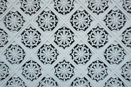 negara: White tile decorations on the outer wall of the New Royal Palace, Istana Negara national palace in Kuala Lumpur, Malaysia
