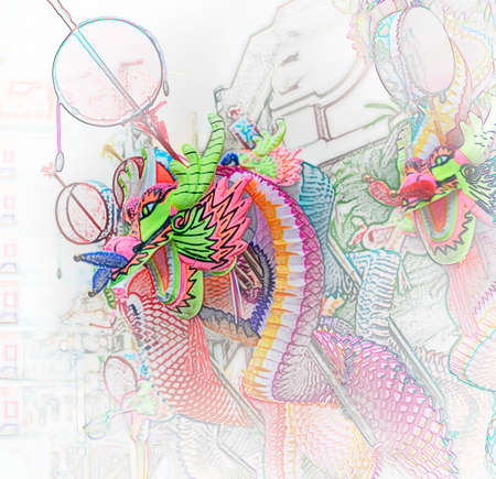 The Colorful of  Dragon Toy, Illustration style illustration