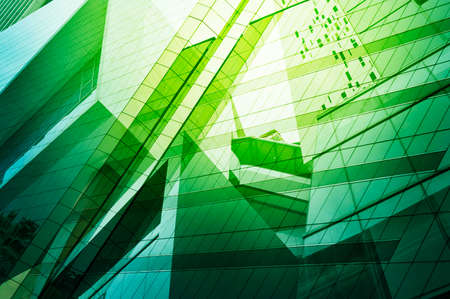 green walls: Glass of modern tower for business background