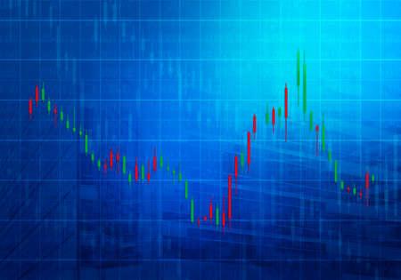 stock prices: Stock market chart on dark blue background