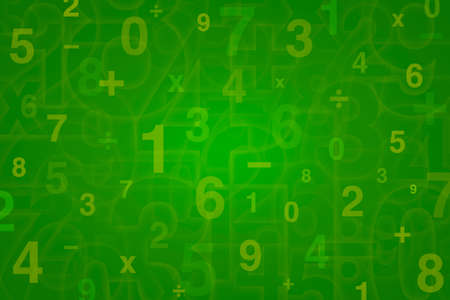 green tone: Numbers design for Mathematics background, green tone
