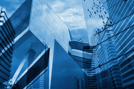 exterior walls: Reflection of modern tower for business background