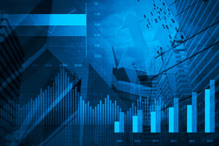stock prices: Financial and business chart and graphs on tower and map background Stock Photo