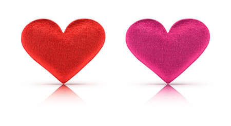 Fabric red and pink heart on white  photo