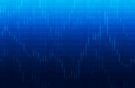 Stock market chart on blue background for business background