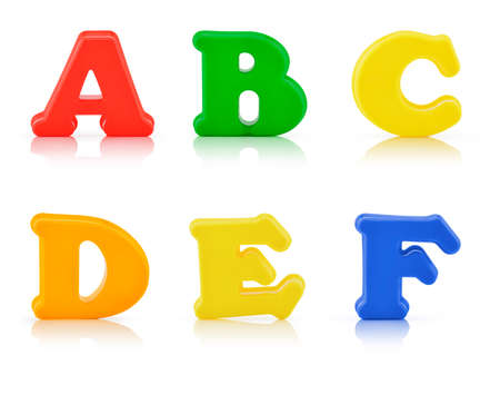 multi colour: English multi colour alphabet on white background with clipping path
