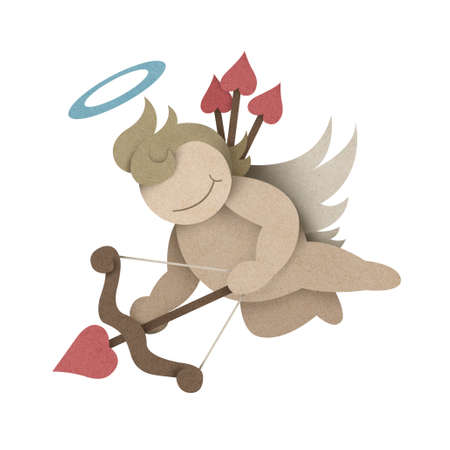 Cupid recycled paper craft on white background photo