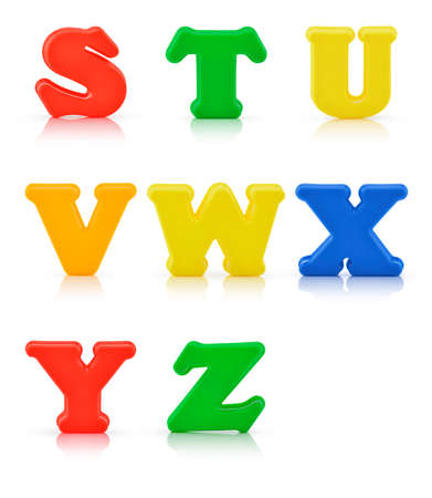 multi colour: English multi colour alphabet on white background